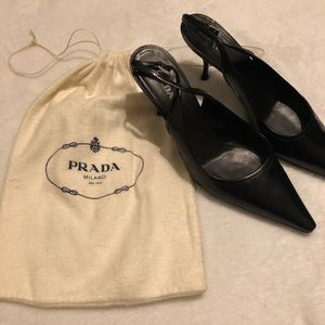 Prada kitten heel sling back shoes size 8.5